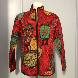 CHICOS Silk Quilted Chinese Lantern Light Jacket M